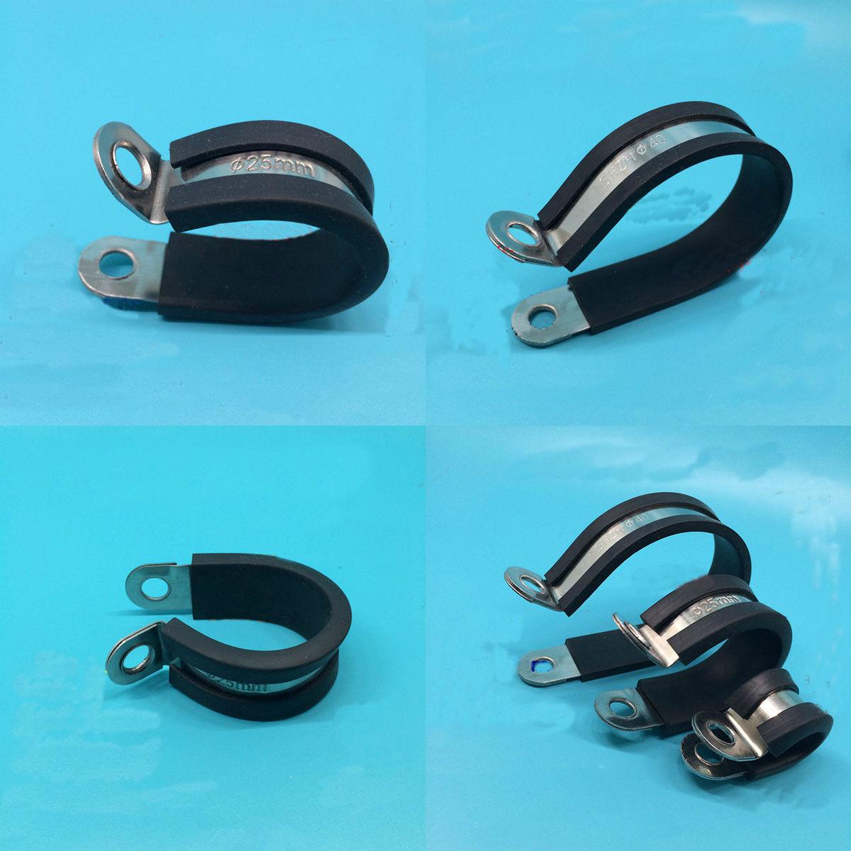 5 x 40mm MIKALOR Zinc Plated Steel EPDM Rubber Lined P Clip Fuel Hose Pipe Cable