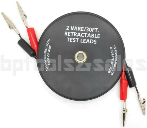 2 Wire 30 FT Retractable Test Leads 18 Gauge Alligator Clips Electrical Testing