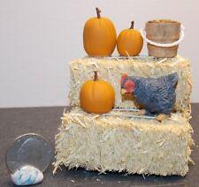 Dollhouse Miniature Farm Chicken Hay Bales Pumpkins E 1:12 H146 Dollys Gallery