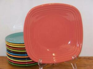Fiesta-FLAMINGO-9-034-Square-Luncheon-Plate-1st-Quality-Discontinued-Color