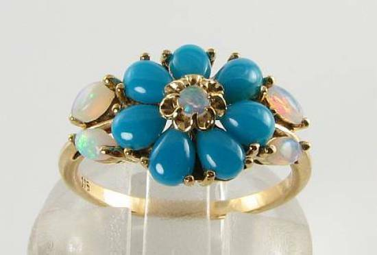 DIVINE 9K 9CT gold PERSIAN TURQUOISE OPAL ART DECO INS DAISY CLUSTER RING