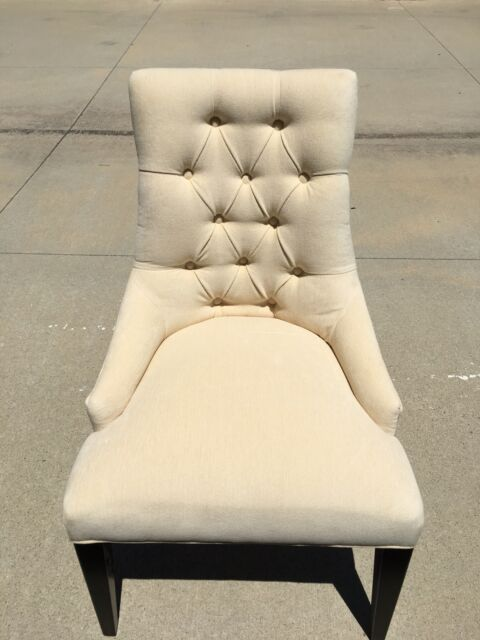 Restoration Hardware Martine Tufted Upholstered Fabric Arm Chairs