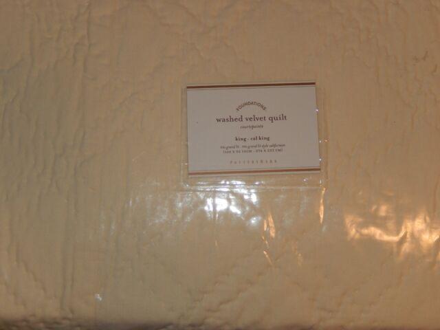 Pottery Barn Washed Velvet Silk Diamond Quilt King For