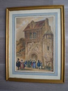 GRAND-DESSIN-ANCIEN-CRAYON-ENCRE-AQUARELLE-XIX-s-DECOR-RENAISSANCE