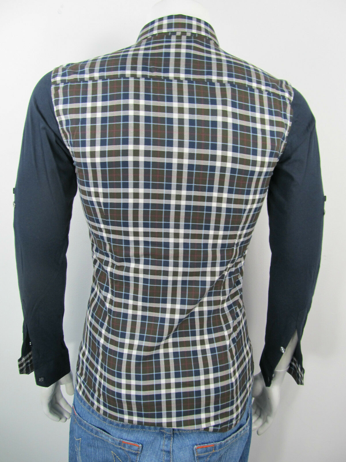 Bogosse Billy Bob blu Long Sleeve Shirt Button Front Front Button Linen Size 3 Medium M Nuovo 78c8e5