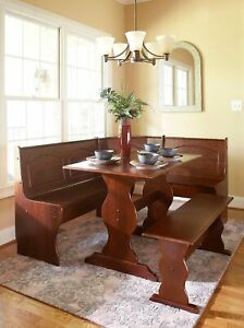 Details about Kitchen Nook Solid Wood Corner Dining Breakfast Set Table  Bench Chair Walnut
