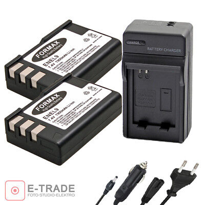 1300mAh, 7.4V, Lithium-Ion Replacement for Nikon EN-EL9 Digital Camera Battery and Charger Charger with Car /& EU Adapters 2X Pack Nikon D40 Battery