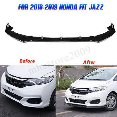 3Pcs Gloss Black ABS Front Bumper Lip Spoiler Trim For Honda FIT JAZZ 2018 2019