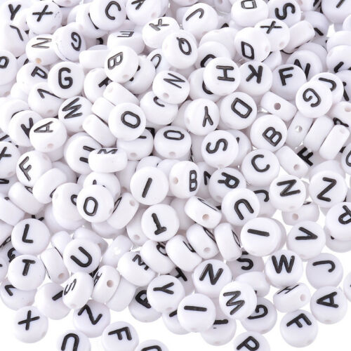 200pcs Lot Mini Acrylic Alphabet Letter Coin Round Flat Loose Spacer Beads 4x7mm
