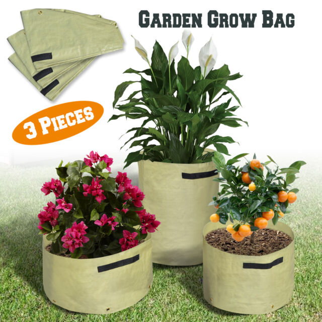 Garden Grow Bags 3pcs Raised Bed Vegetables Plant Tub Eco Friendly Planter Pots