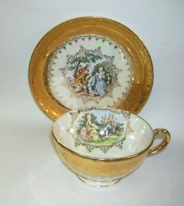 Victorian Homer Laughlin Cup and Saucer 22 kt Gold Star Crest Baltimore MD