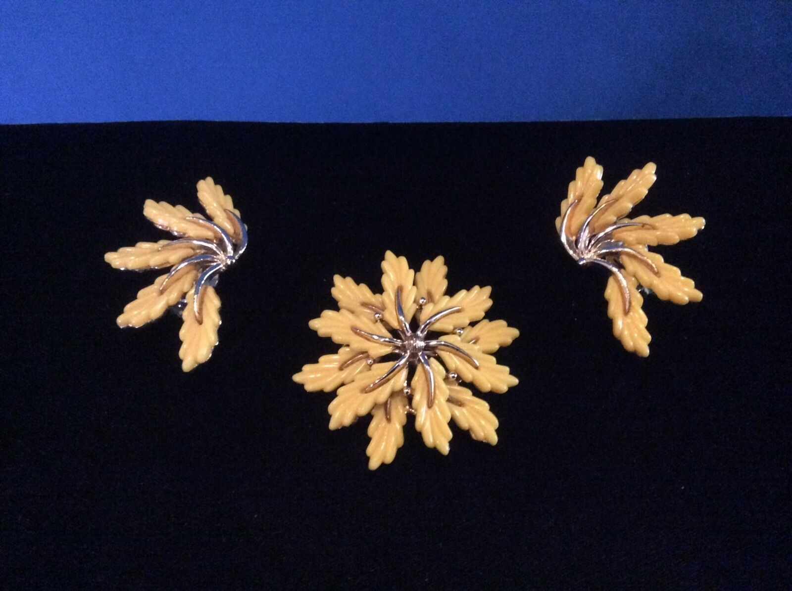 Vintage 1950's Early Plastic Pin and Clip-on Earrings