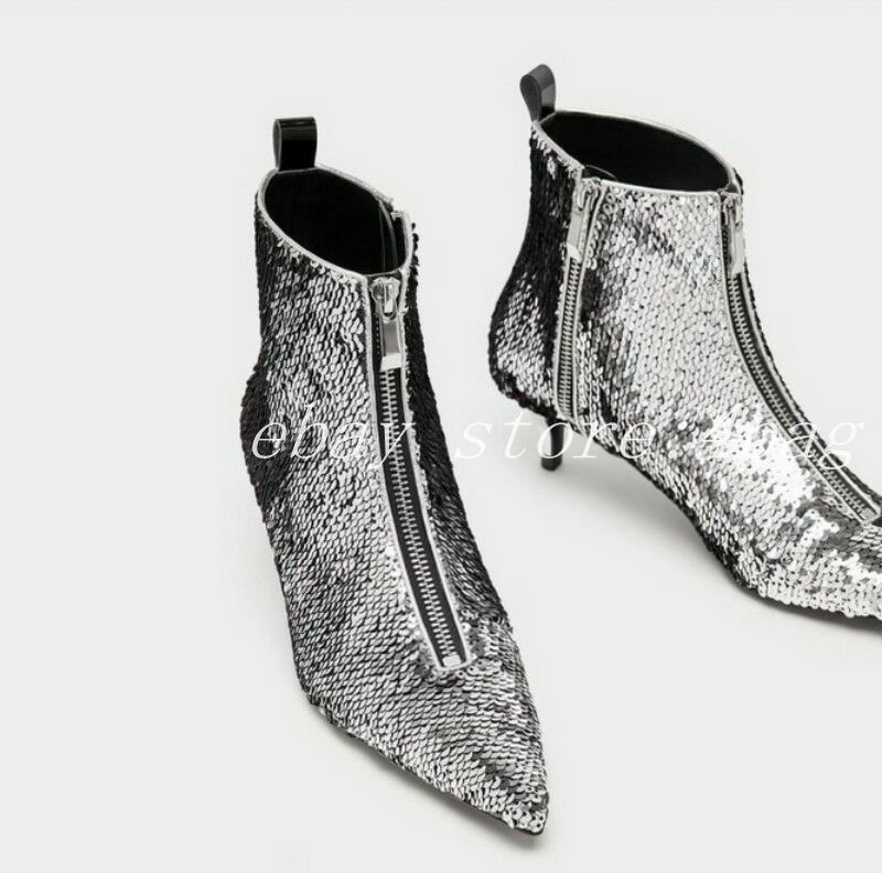Zapatos De Vestir Mujer Zapatos De Tacón Gatito Blingbling Lentejuelas Lentejuelas Lentejuelas frontales con cremallera botas al Tobillo Fiesta  edición limitada en caliente