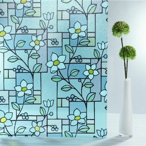 3D Embossed Blau Tinted Flower TextuROT Static Static Static Window Film Frosted Glass PVC 320b10
