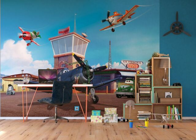 Disney Kids Bedroom Wallpaper Planes Photo Wall Mural Giant Size Rusty U0026  Skipper