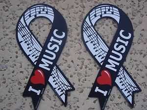 """2 MUSIC Ribbon Magnets I LOVE MUSIC with Staff  8"""" x 4"""" Music Gift Brand NEW"""
