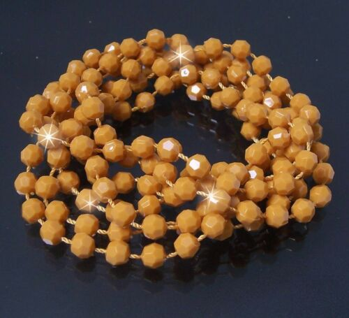Wickelkette Perlenkette Kette 140cm curry Discokugel Perlen Schmuck Armband X47