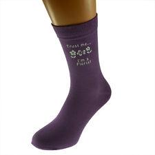 Trust me I'm a Florist Image Ladies Purple Socks UK Size  4-8 X6N523