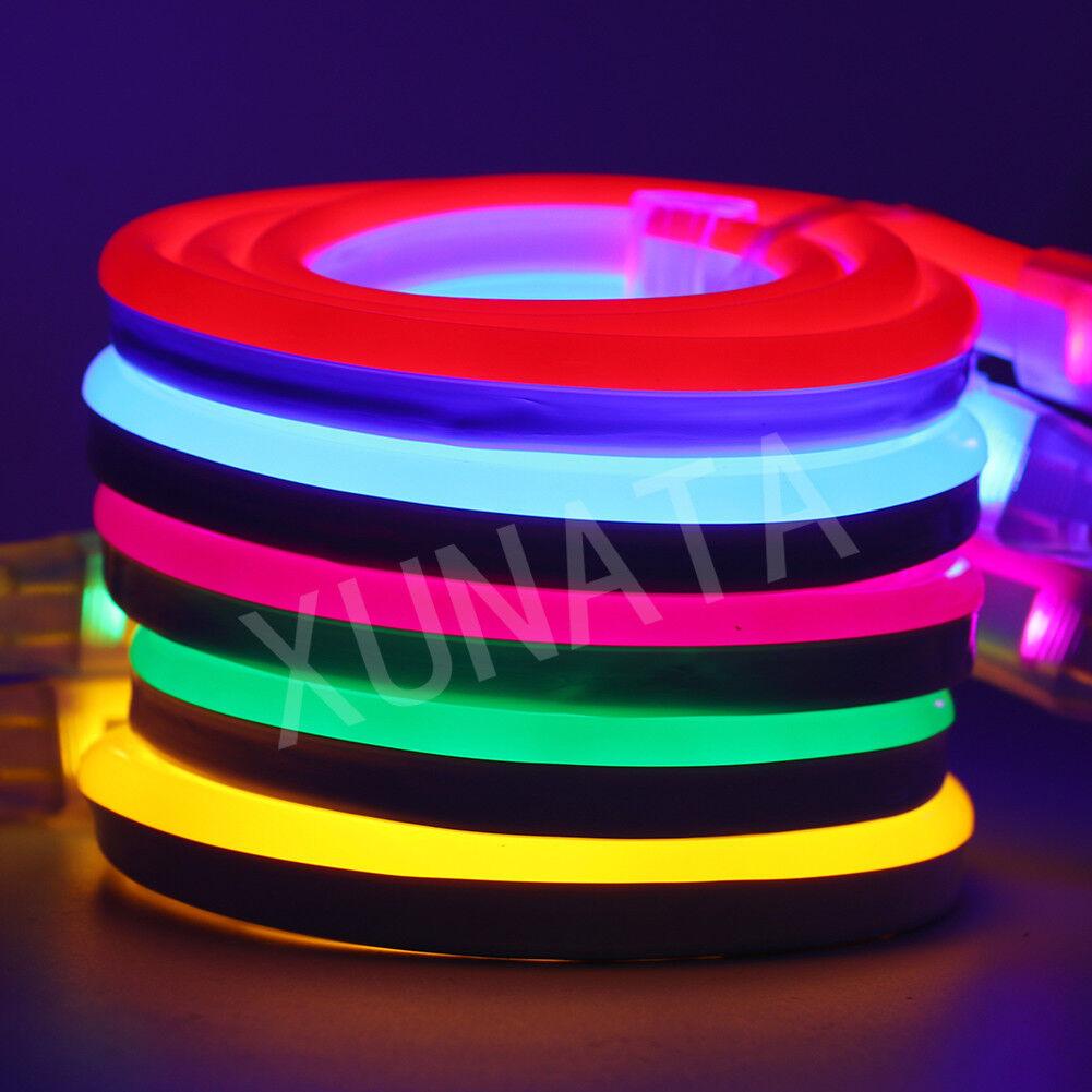 RGB led neon strip 12V Flex 2835 5050 SMD 120LEDs m Tape Light Rope Clips 1-100m