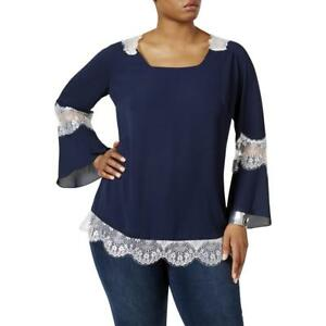 Ny-Collection-NWT-49-3X-Plus-Twilight-Blue-White-Lace-Inset-Tunic-Blouse-04118