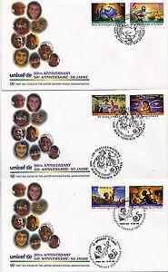 United Nations 1996 50th Anniversaire De L'unicef 3 Premier Jour Couvre Shss-afficher Le Titre D'origine Saveur Aromatique