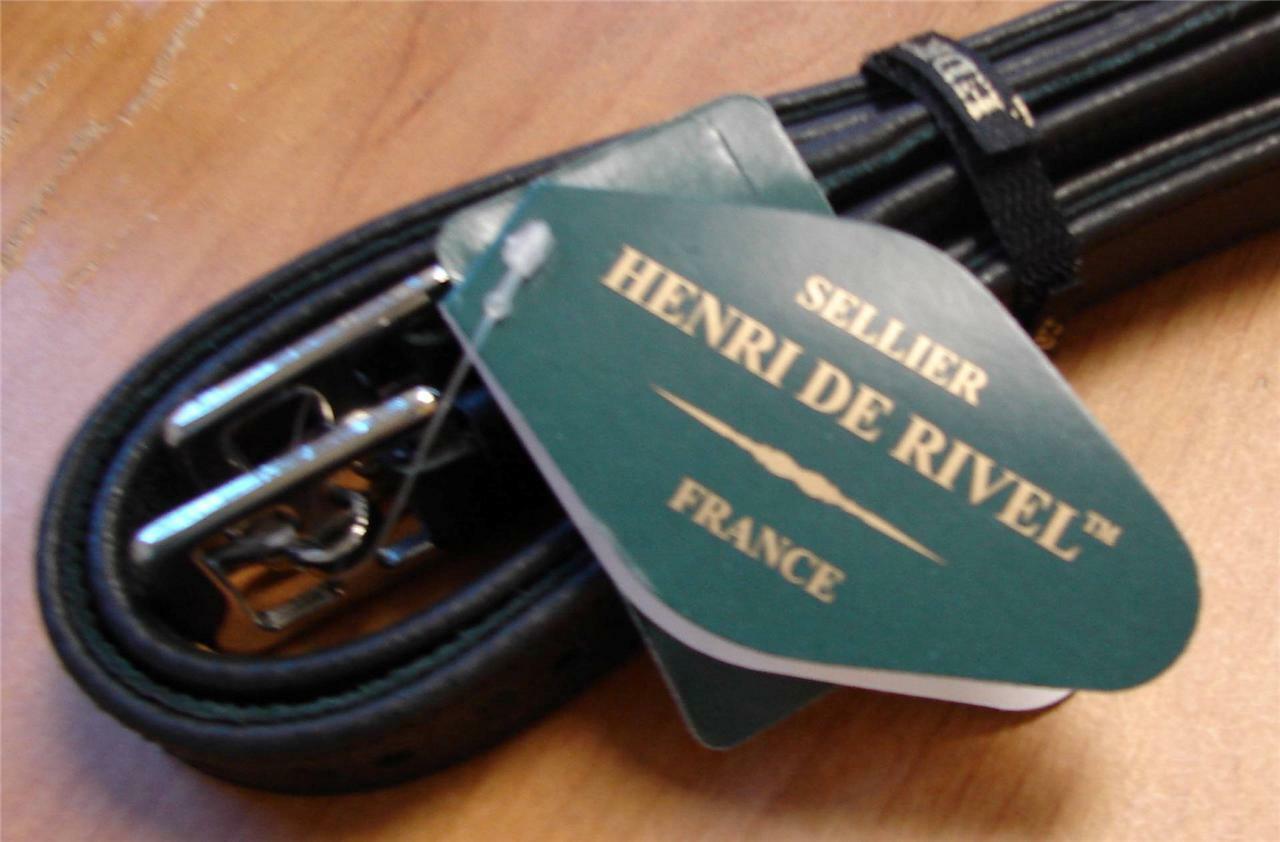 HDR Noir Anglais Selle TRIPLE couvert Véritable Cuir Etrivières 60