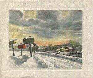 VINTAGE CHRISTMAS DUSK SUNSET STORM CLOUDS SUNBEAMS MAIL ...