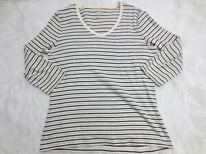 St-Johns-Bay-Womens-Shirt-Medium-Ivory-Black-Stripe-3-4-Sleeve-V-Neck-Casual
