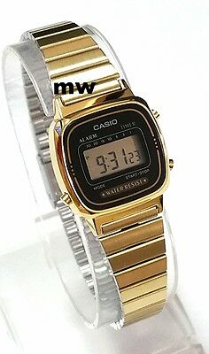 Latest Casio Womens Gold Tone Digital Fashion Watch LA670 LA670WGA-1U Alarm NEW