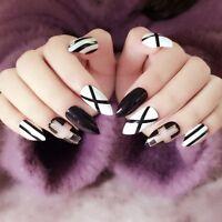 Stiletto Black & White Cross Press On 24 Full Cover Nail Tips