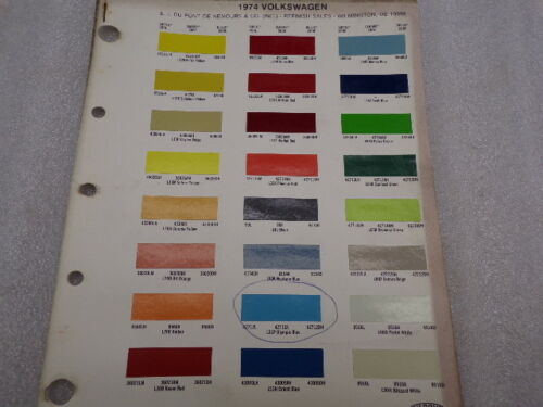1974 74 Volkswagen VW Cars Dupont Color Paint Chip Charts Manual book