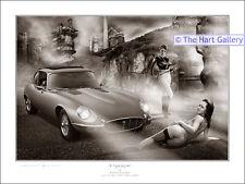 E-Type  XK-E Jaguar Limited Edition Giclee Fantasy Erotic Art Print Picture