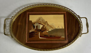 Vintage Italian Inlaid Wood Marquetry Serving Tray Ornate Brass Handles Cabin