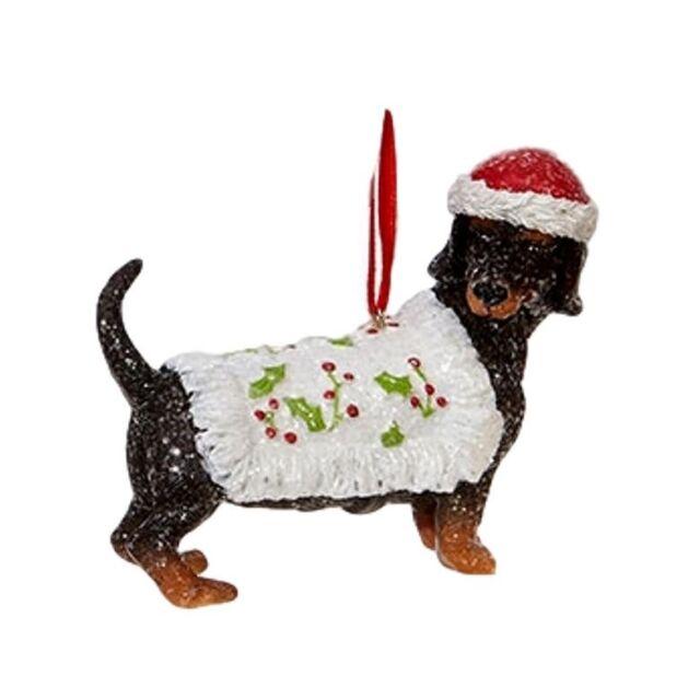 Raz Imports Dog Christmas Tree Ornaments Set of 5 Dachshund Bulldog - Raz Imports Dog Christmas Tree Ornaments Set Of 5 Dachshund Bulldog