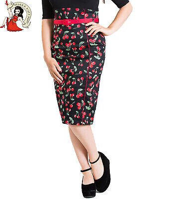 HELL BUNNY LOVEBIRD CIRCULAR SKIRT love FLORAL valentine 50s style BLACK XS-4XL