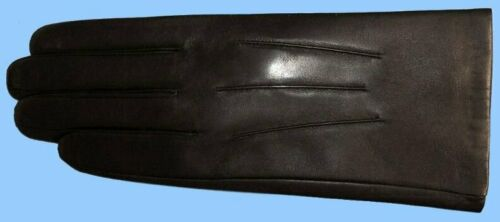 NEW MENS CLASSIC GENUINE BLACK LAMBSKIN-KID LEATHER DRESS GLOVES-CASHMERE LINED