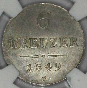 AUSTRIA coin 6 Kreuzer 1849 C NGC AU 58 Choice About Uncirculated grade