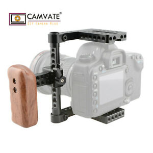 CAMVATE-DSLR-Camera-Cage-Rig-NATO-Left-Handle-Wood-Grip-for-Canon-Nikon-Sony-GH5