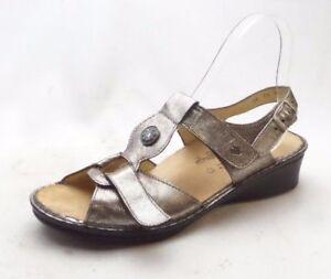 Finn Comfort Adana Pewter Corten Leather T Strap Sling Back Sandals Womens 7 5 D Ebay