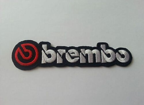 MOTOR RACING RALLY SPORT FUELS OILS SEW IRON ON PATCH: b SILVER BREMBO