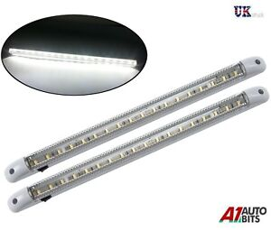 2X-18-LED-12V-LED-CAR-INTERIOR-WHITE-STRIP-LIGHTS-BAR-VAN-CARAVAN-ON-OFF-SWITCH