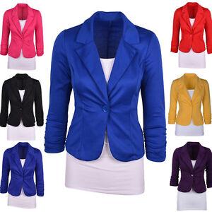 La imagen se está cargando Blazer-para-mujer-chaqueta-TRAJE -INFORMAL-Basico-Color- 540733b1be5d
