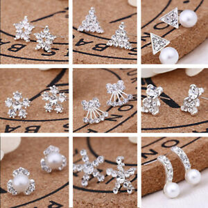 925-Sterling-Silver-Stud-Earrings-Sparkly-Stones-Fashion-Studs-Womens-Girls