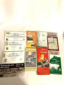 Lots Of 10 Vintage Maps Trail Bicycle Hikes Maryland, Virgina, Europe, Cape Cod