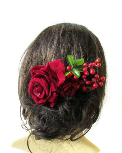Large Burgundy Red Rose /& Berry Flower Hair Comb Headpiece Bridal Vintage 1489