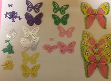 Embellishments Punched Card Butterflies + 5 Lge Toppers Qty 130 Asstd  BARGAIN