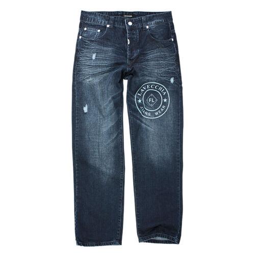 Lavecchia Herren Jeans Übergröße Designer Hose Dunkel gestylte Drucke W38-W52