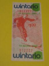 WINTARIO LOTTERY TICKET JANUARY 10 1980 DOWN HILL SKI  ART CANADA