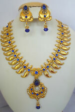 South IndianTraditional Jewellery blue mango design necklace with earring 10040