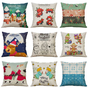 18-034-Christmas-Spirit-Cotton-Linen-Pillow-Case-Cushion-Cover-Sofa-Home-Decor